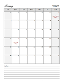 2022 calendar printable template including week numbers and united states holidays, available in pdf word excel jpg format, free download or print. Free 2022 Monthly Calendar Templates - CalendarLabs
