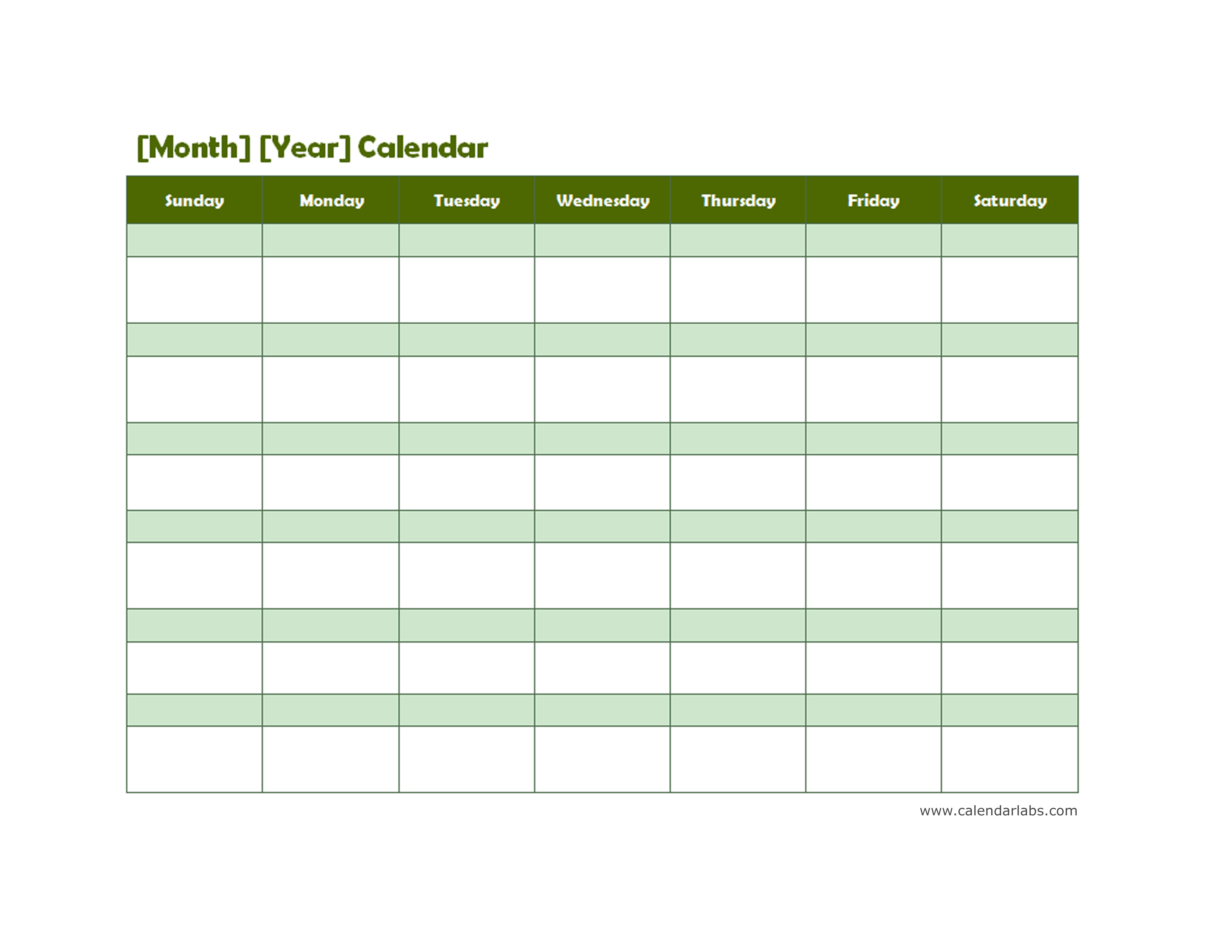 Monthly Blank Calendar In Green Shade Free Printable Templates
