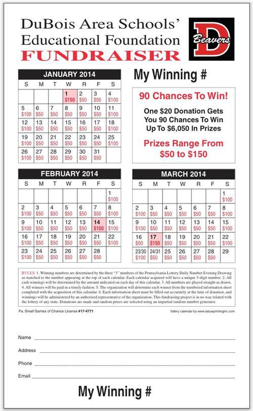 Lottery Calendar Fundraiser Template Calendar Template 2019