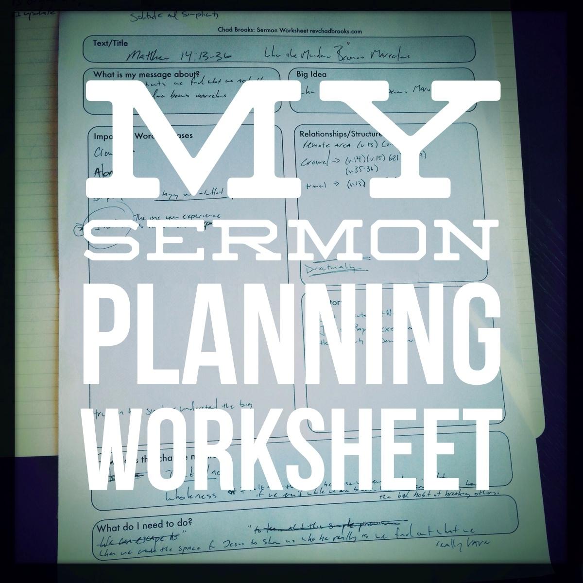 Sermon Planning Excel Sheet