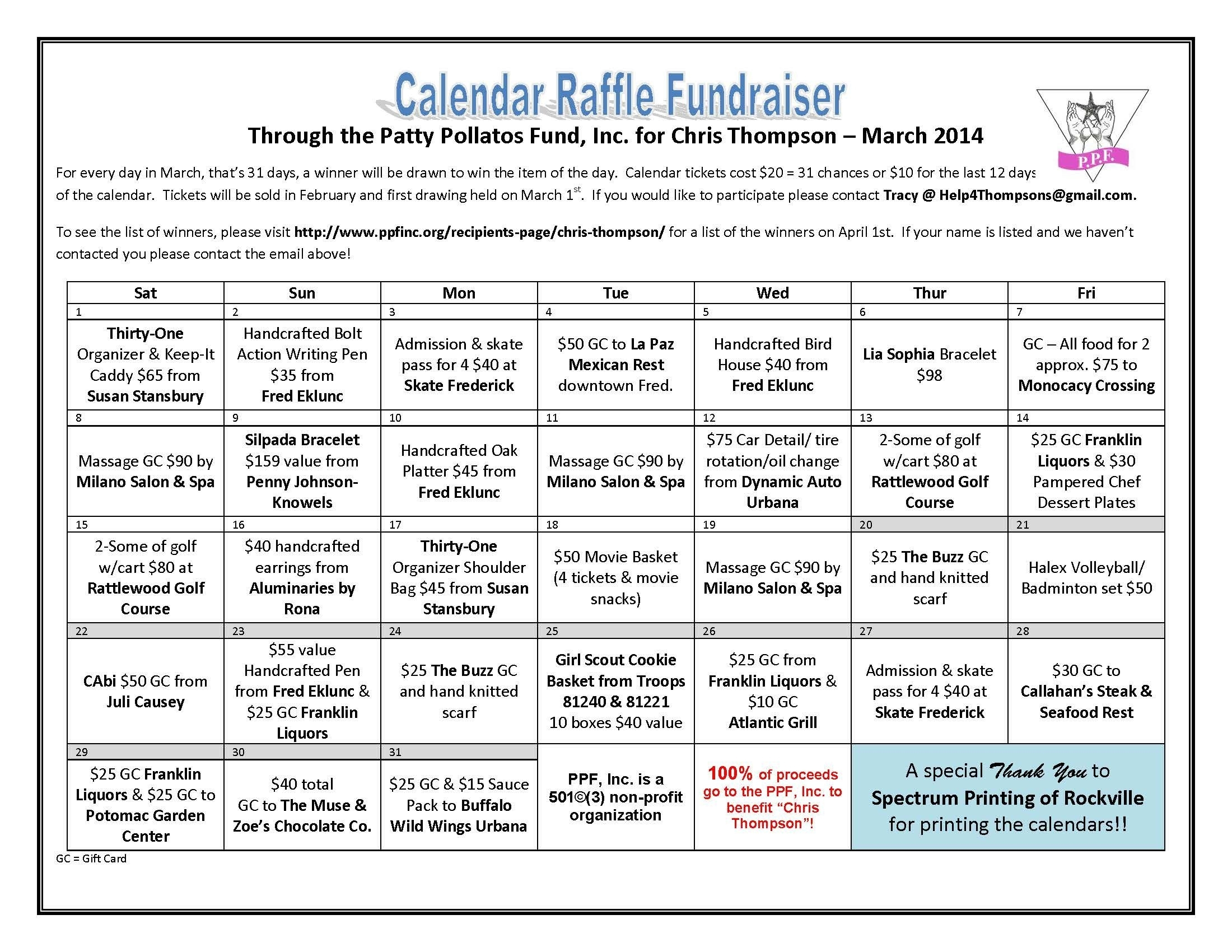 Lottery Calendar Fundraiser Editable Template