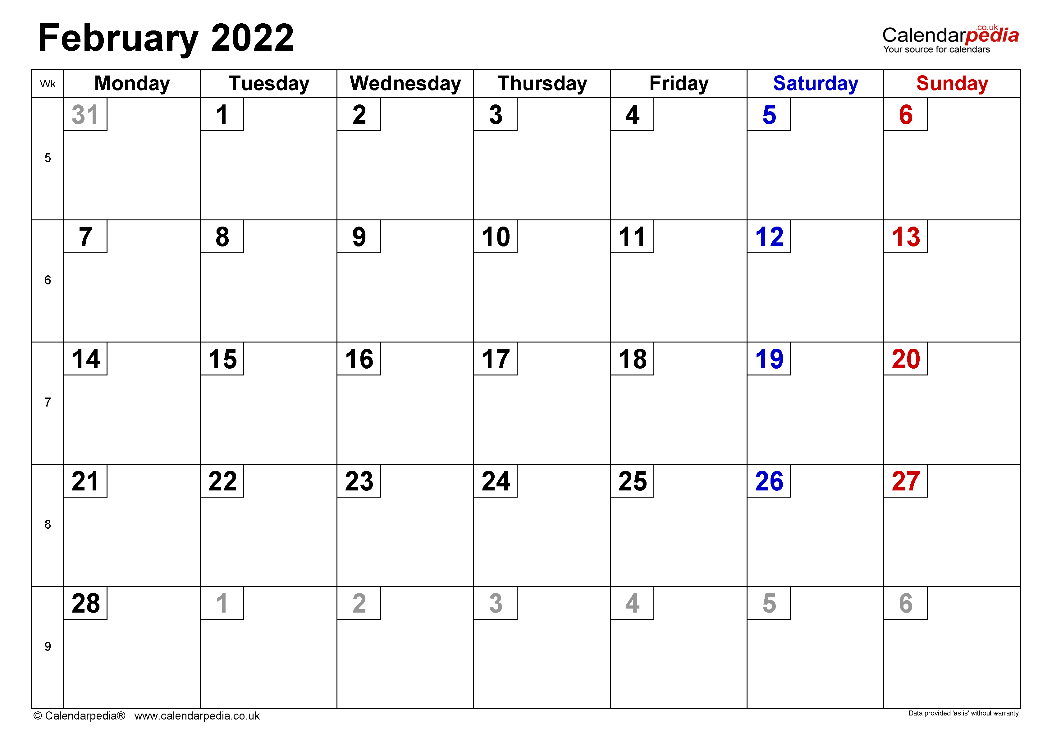 Download a free, printable calendar for 2021 to keep you organized in style. Calendar February 2022 UK with Excel, Word and PDF templates