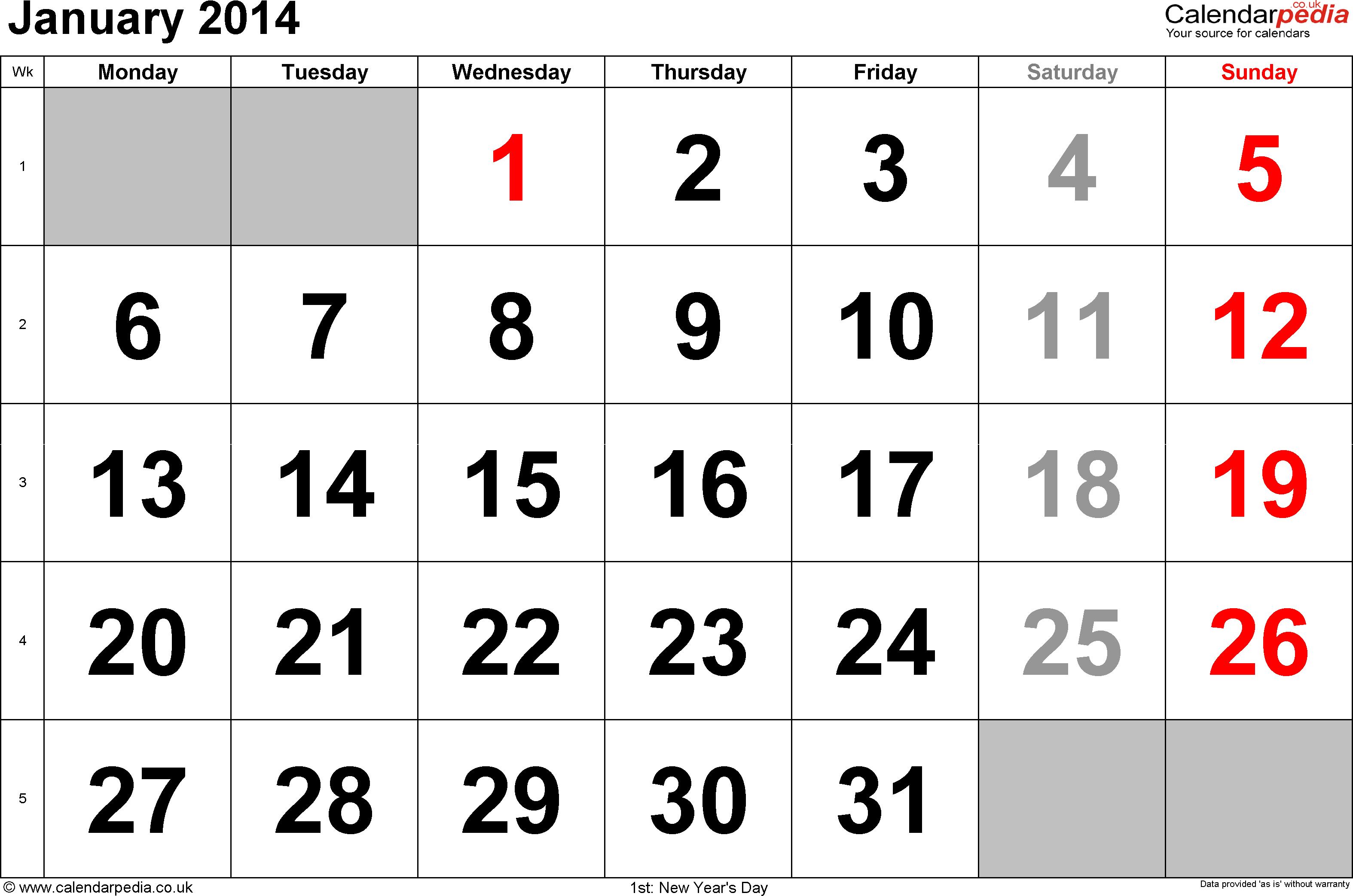 Calendar January Uk Bank Holidays Excel Word Templates