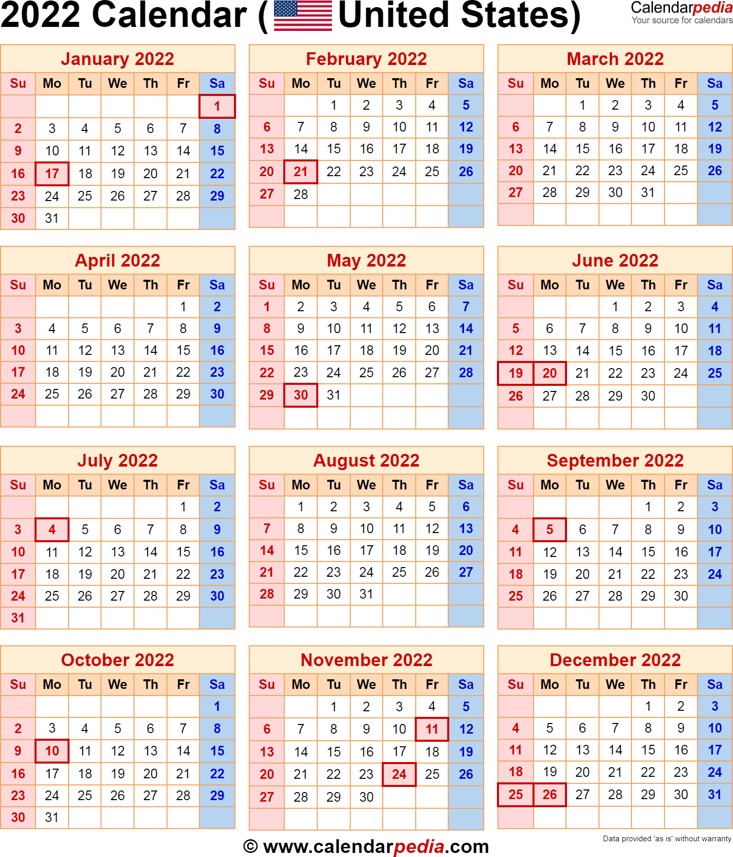 So you can always keep track of upcoming events, anniversaries and. 2022 Calendar with Federal Holidays