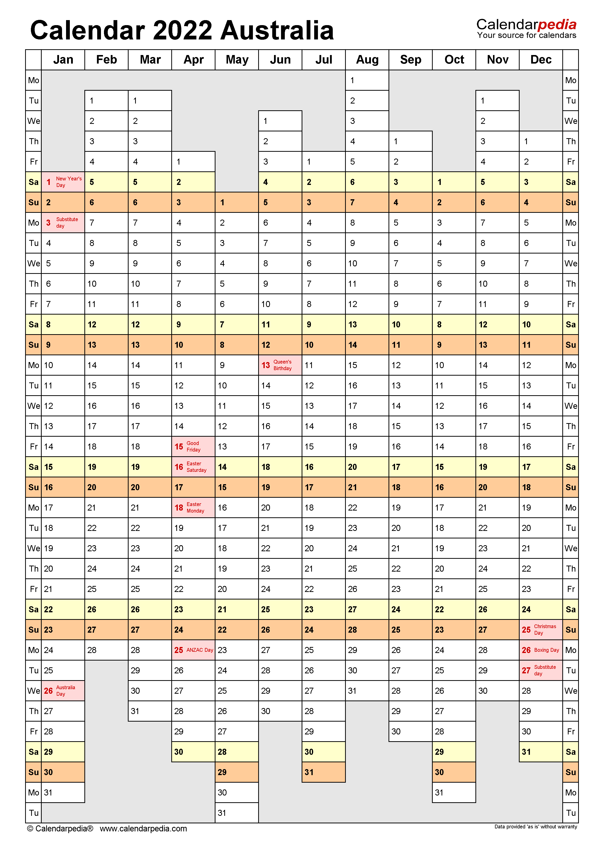 Hundreds of printable august 2022 calendar pdf are ready to download and print australia 2022 calendar with holidays. Australia Calendar 2022 - Free Printable PDF templates