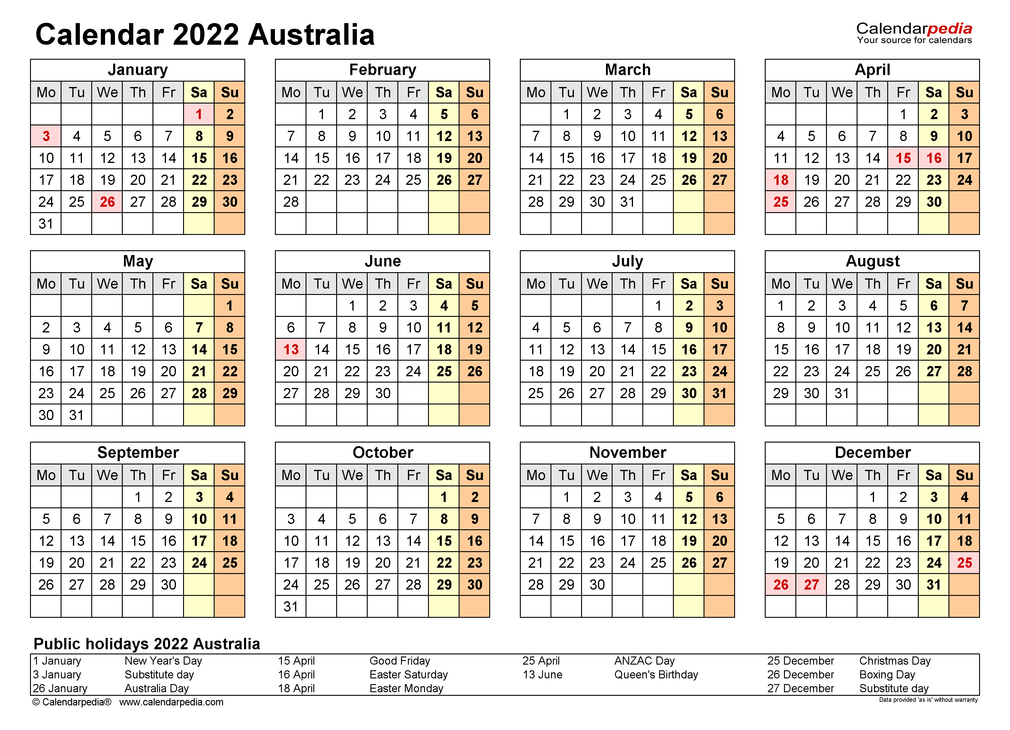 2021 wall calendars for free download available as free printable calendar. Australia Calendar 2022 - Free Printable Excel templates