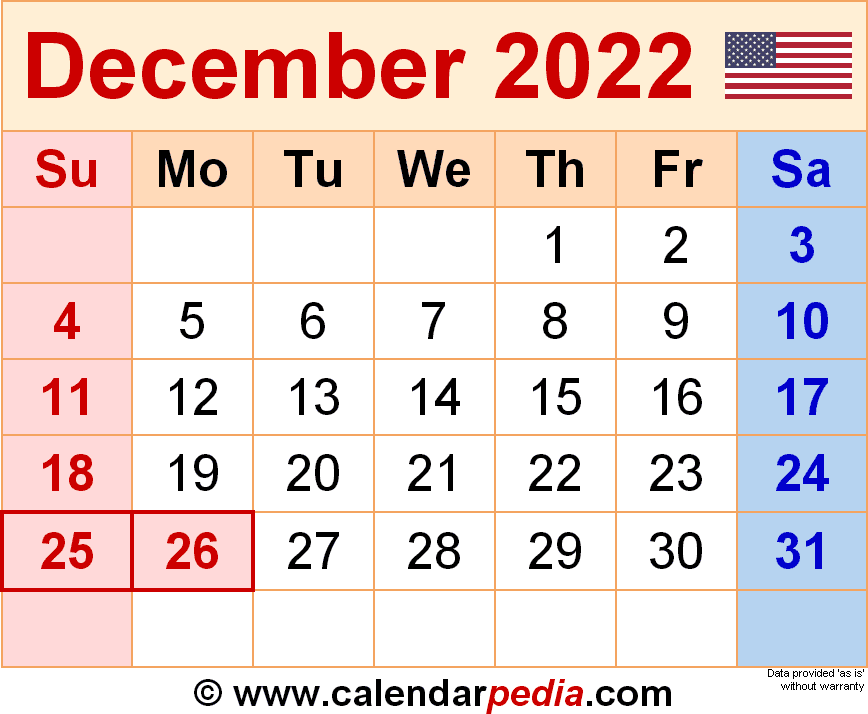 Edit and print free printable calendars for 2021, 2022, 2023, and beyond in word, excel, pdf, & December 2022 - calendar templates for Word, Excel and PDF