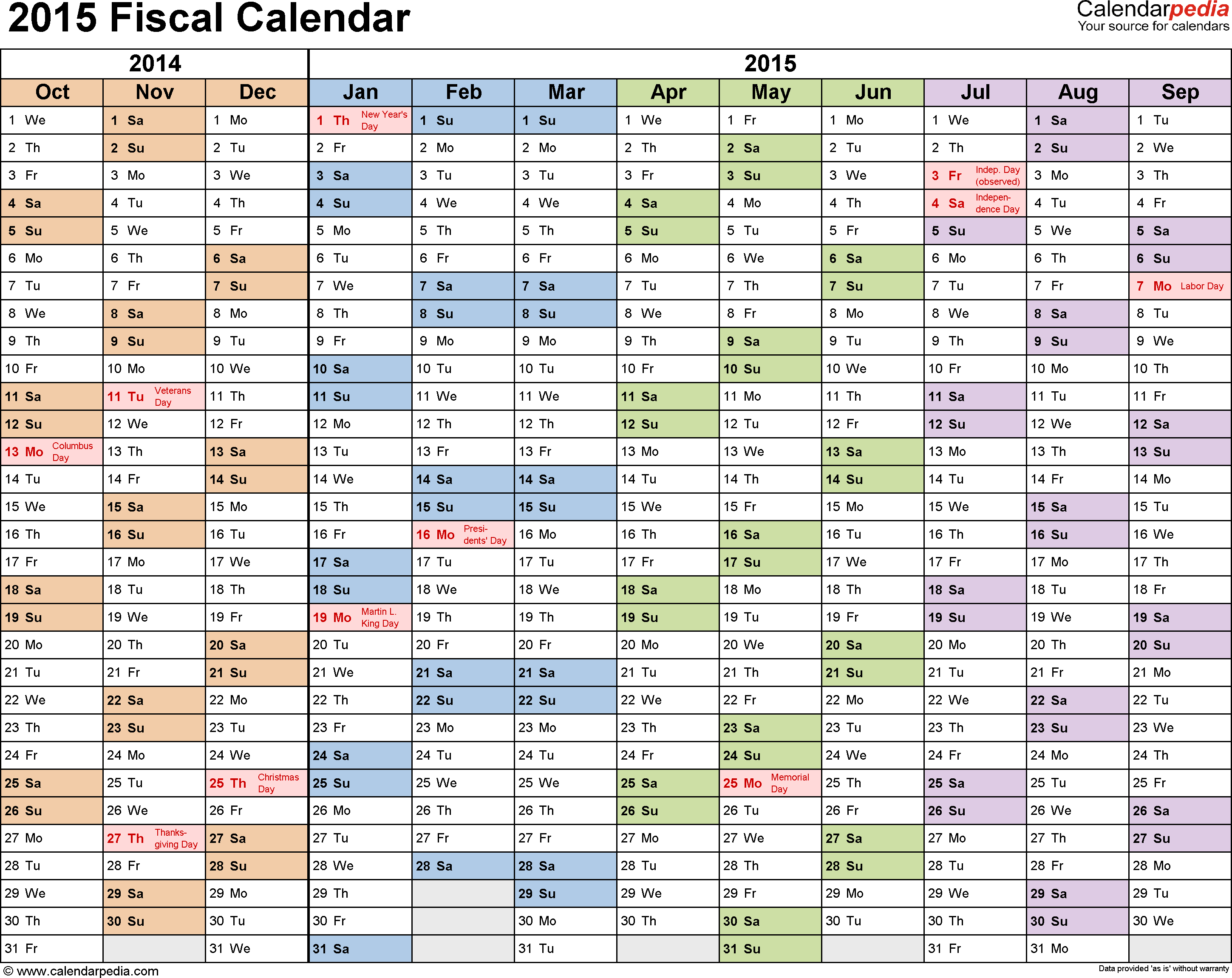 Fiscal Calendars As Free Printable Templates