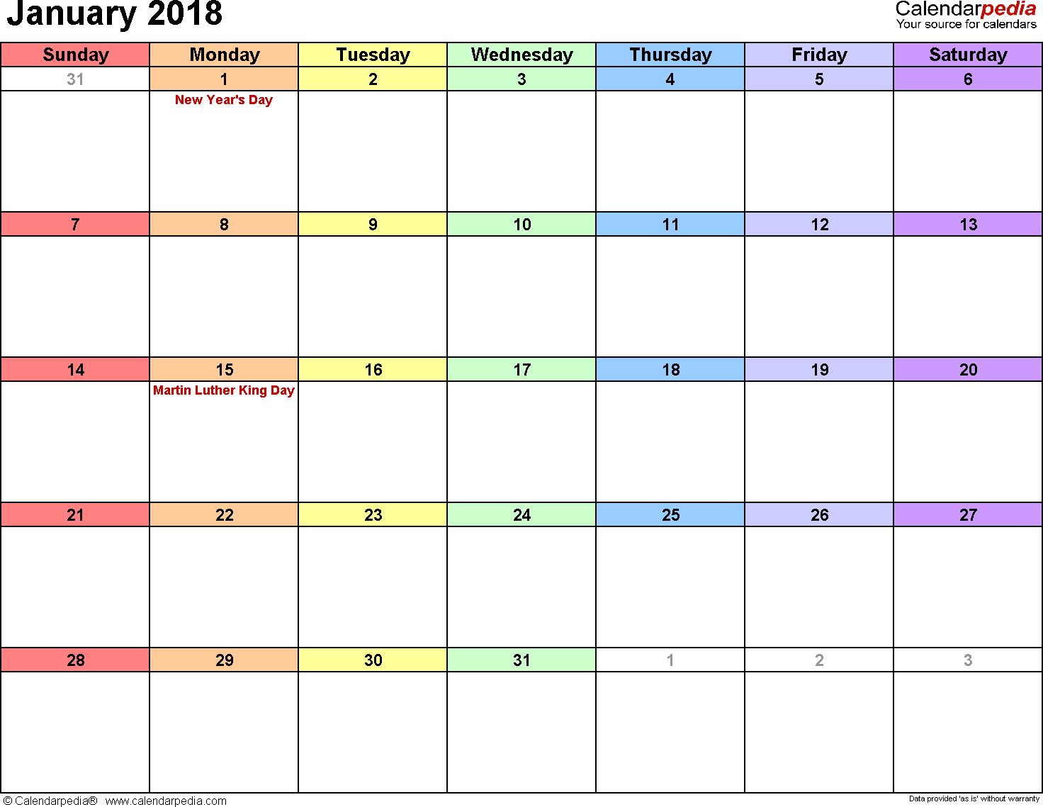 January Calendars For Word Excel Amp