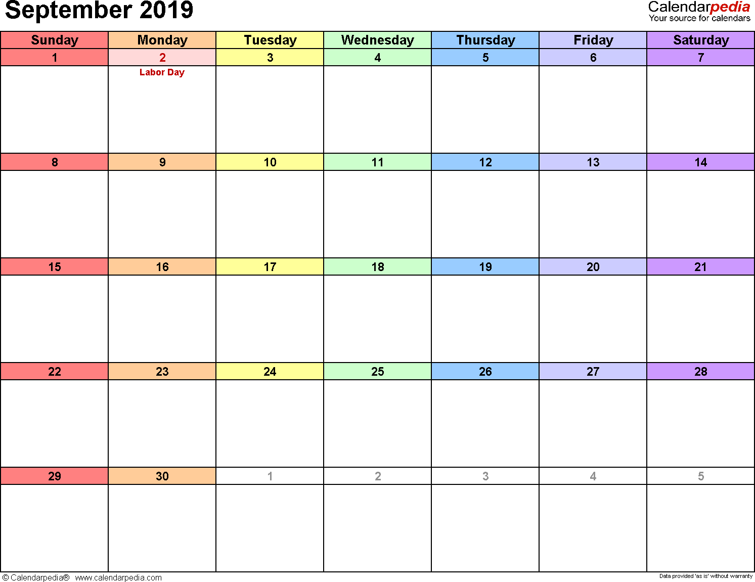Sept 2019 Calendar Holidays