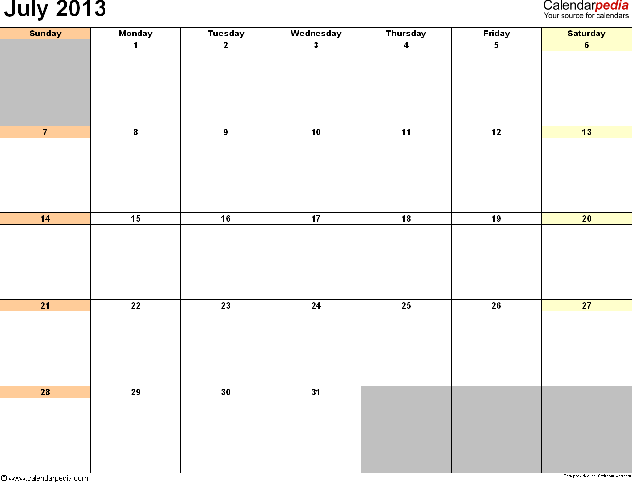July Calendars For Word Excel Amp