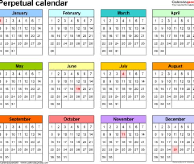 Template 5 Excel Template For Perpetual Calendar Landscape Orientation 1 Page