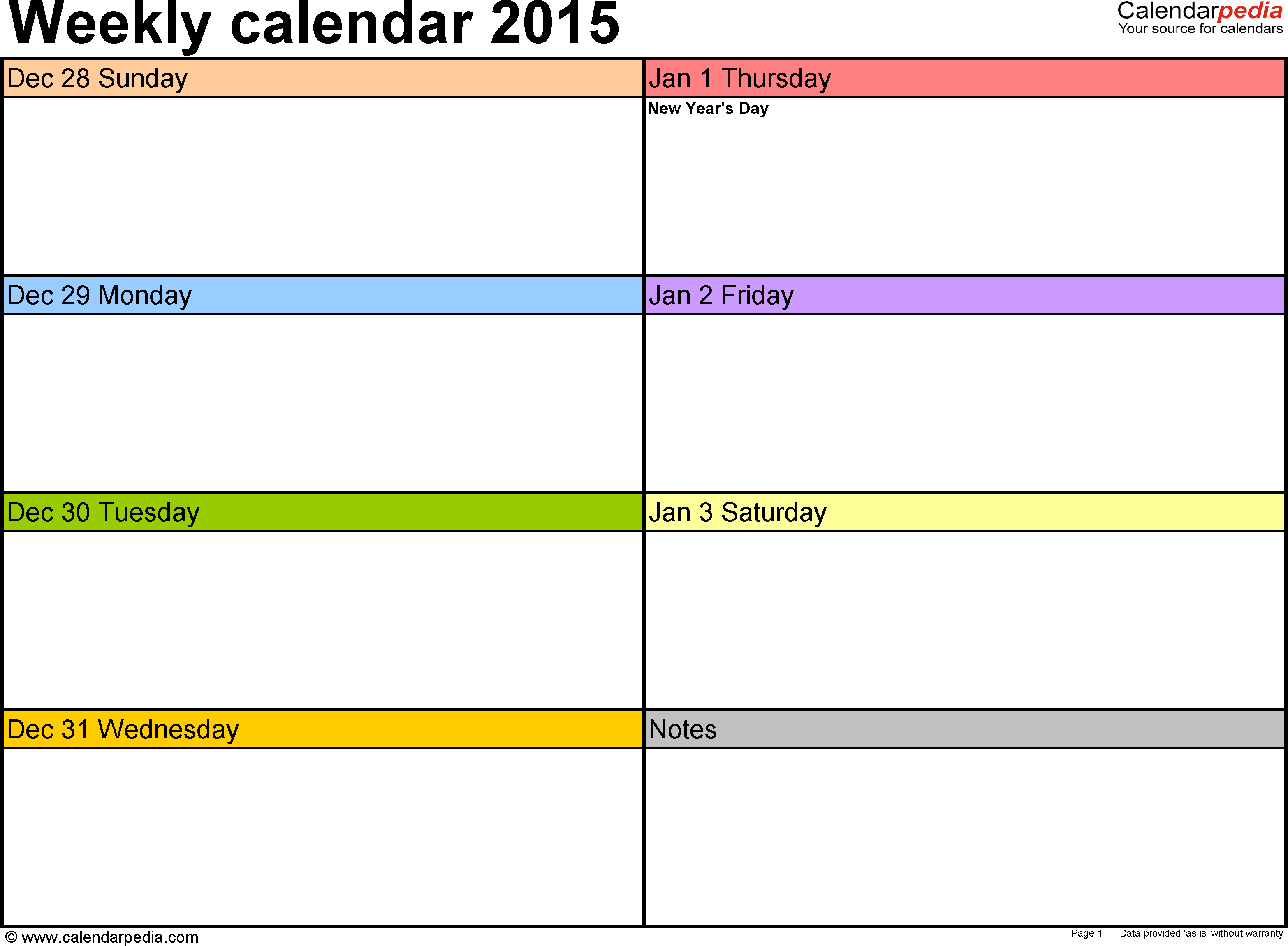 Weekly Calendar For Excel