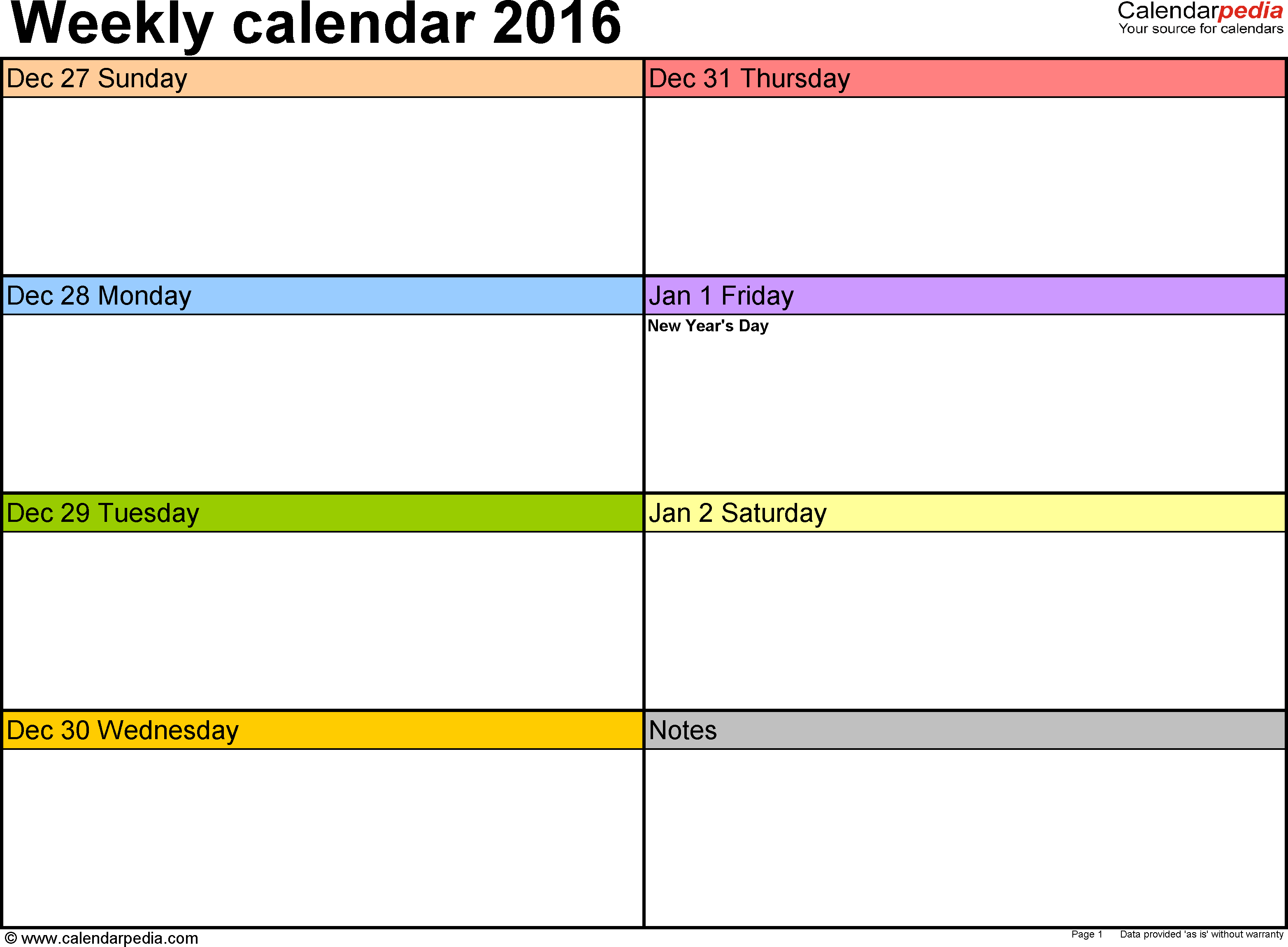 Weekly Calendars For Word