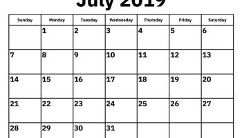 July Month Calendar 2019 Printable Template