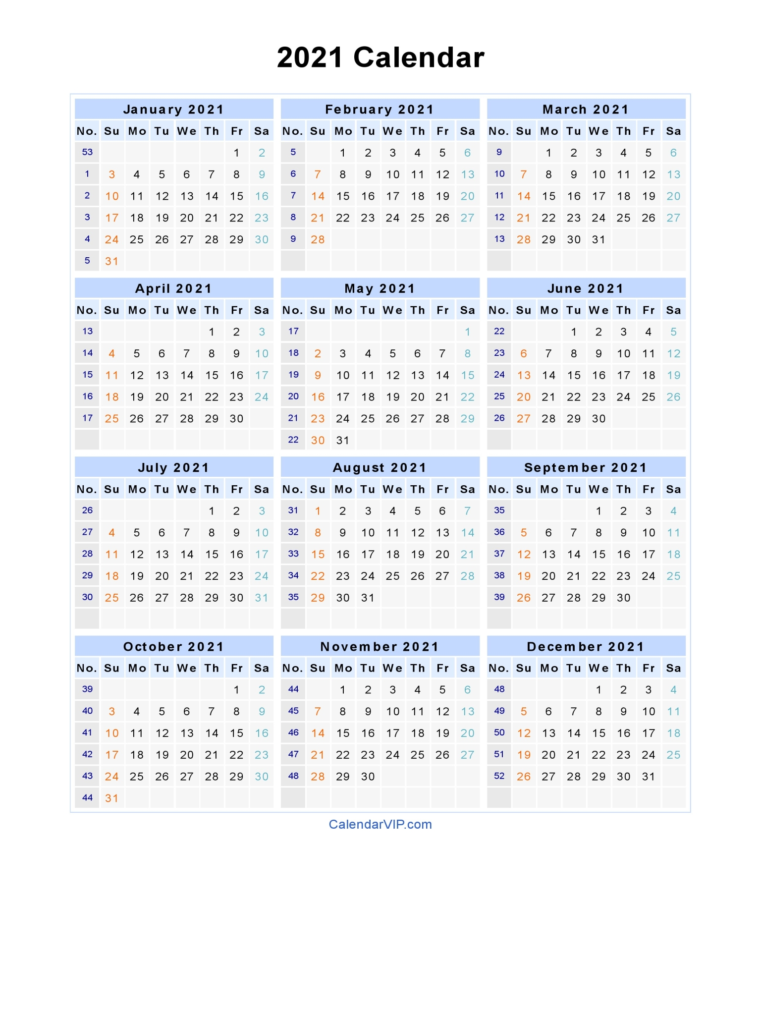 After all, it's just another way to show some excitement for the end of 2020. 2021 Calendar - Blank Printable Calendar Template in PDF ...