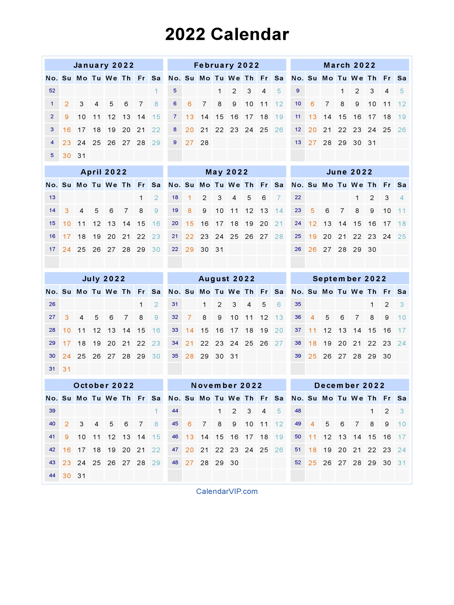Federal holidays in the united states. 2022 Calendar - Blank Printable Calendar Template in PDF ...