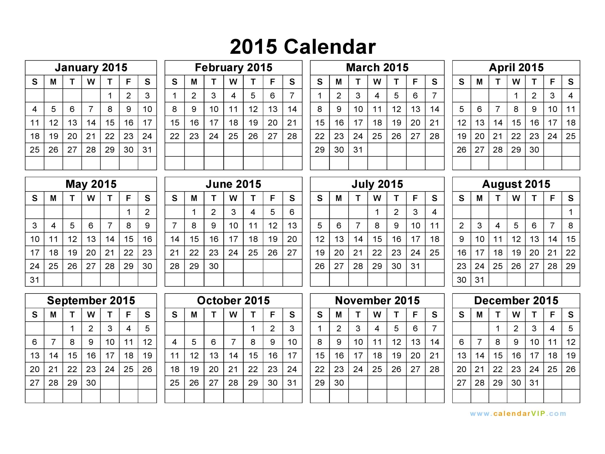 Calendars 2015 National Holidays