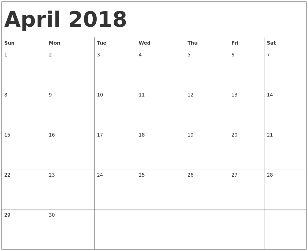 2018 calendar april