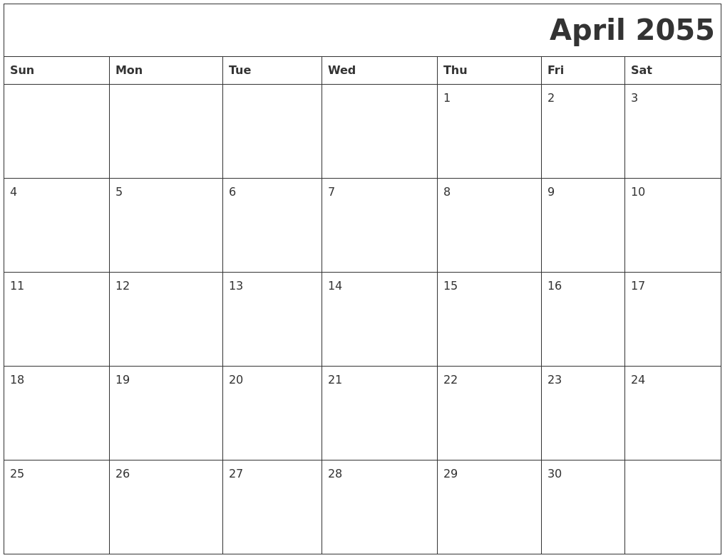 December 2054 Blank Calendar Pages