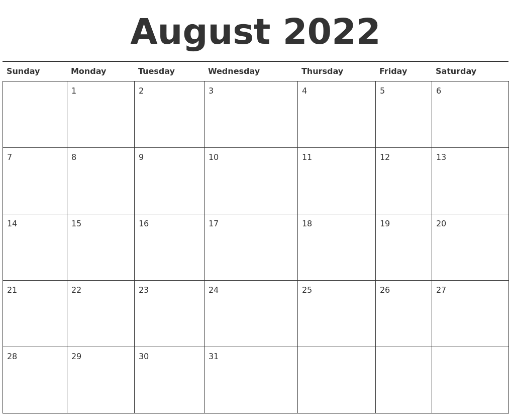 The calendar of events lists these seminars and programs. August 2022 Calendar Printable
