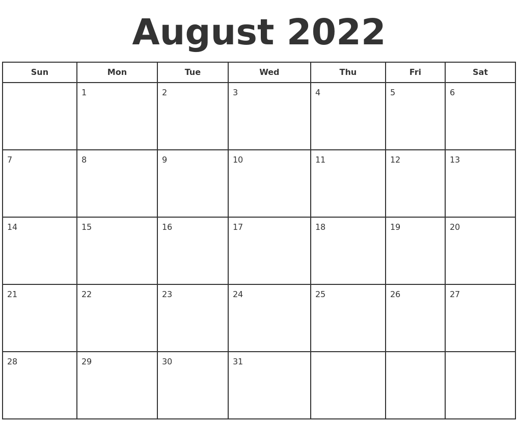 You can budget both your money and your time by making a. August 2022 Print A Calendar