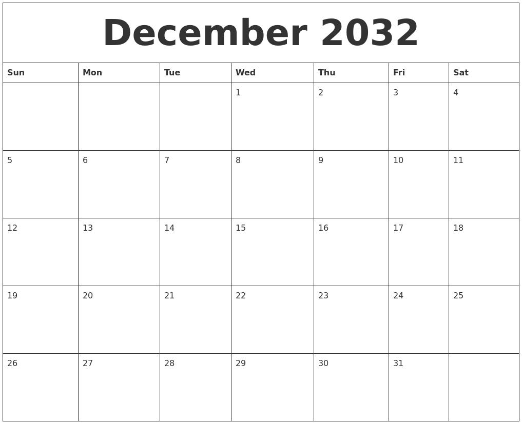 December 2032 Birthday Calendar Template