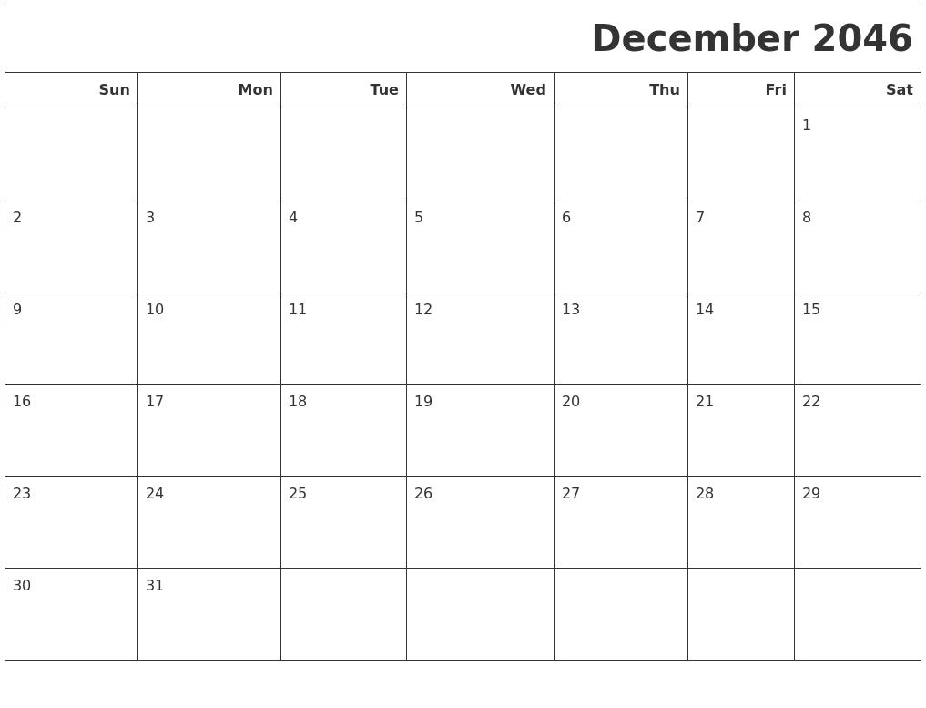 December 2046 Calendars To Print