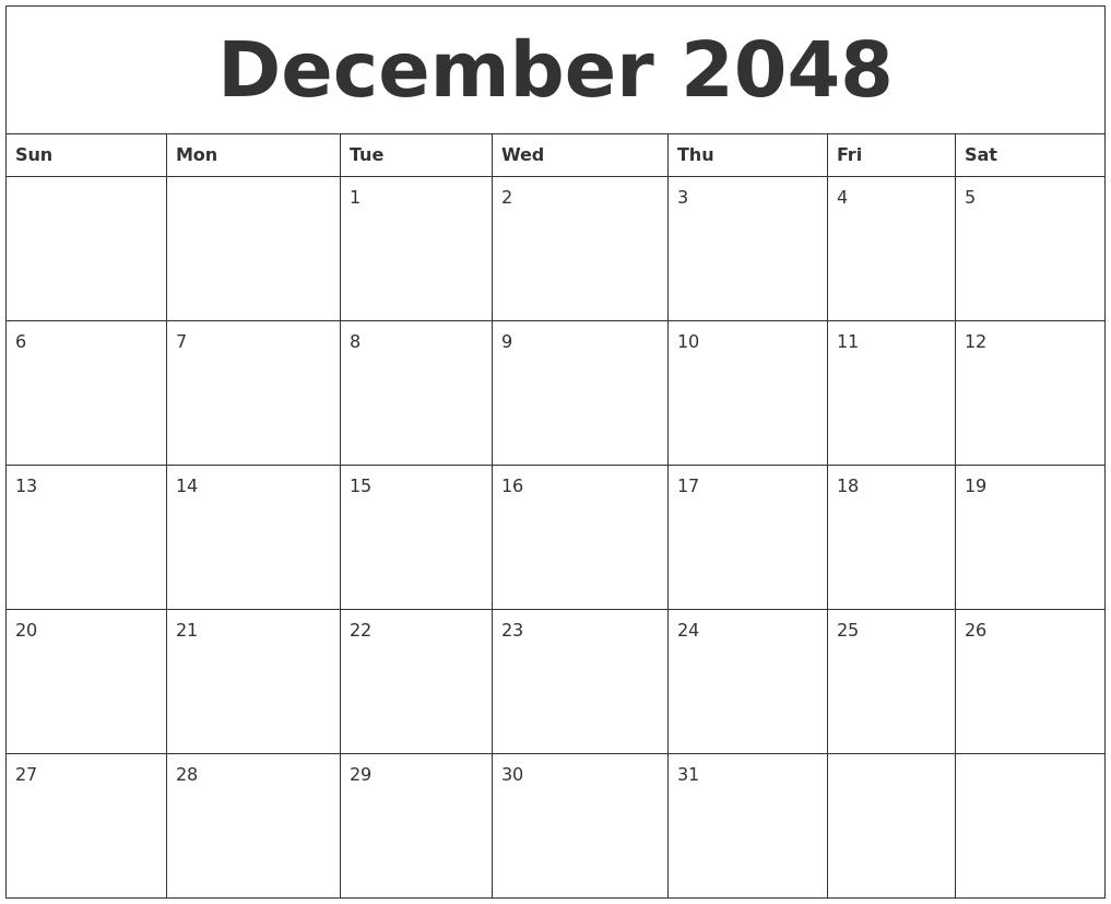 December 2048 Free Calendar Download