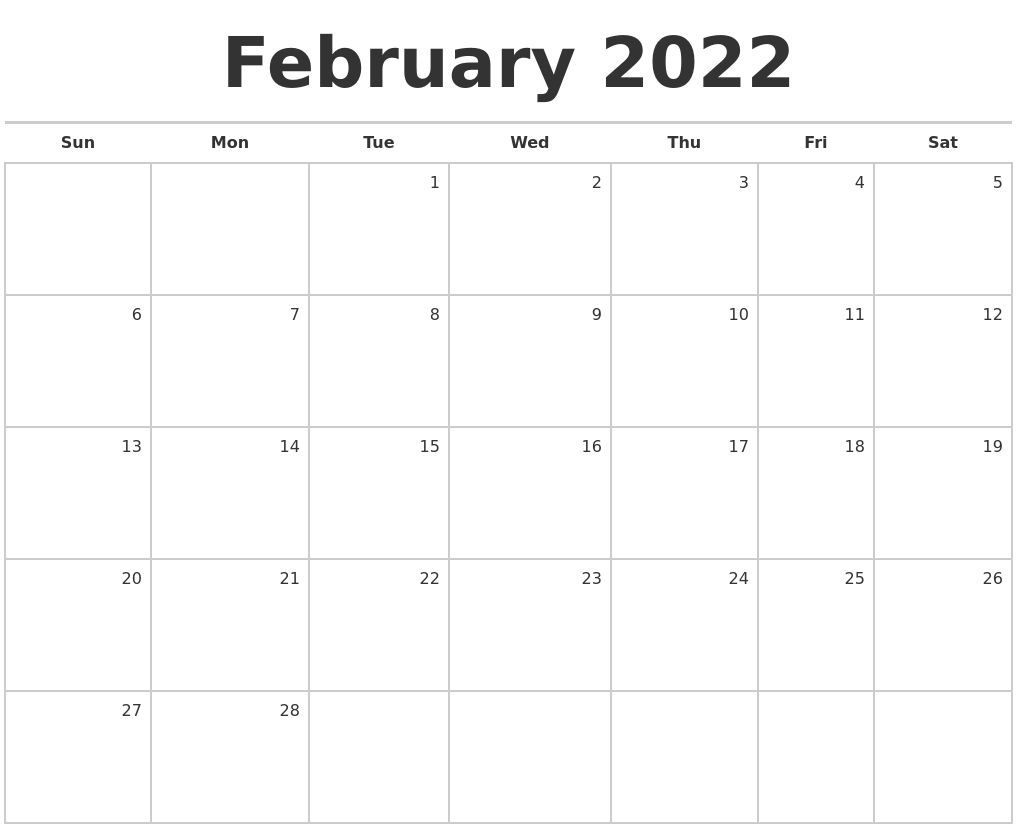It provides a visual aid and helps students learn how to skip count. February 2022 Blank Monthly Calendar