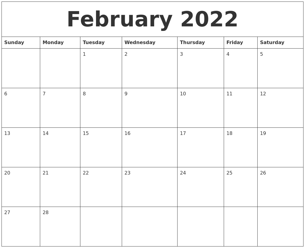 Sometimes it is handy to have a calendar for your current month on your cubical wall. February 2022 Calendar