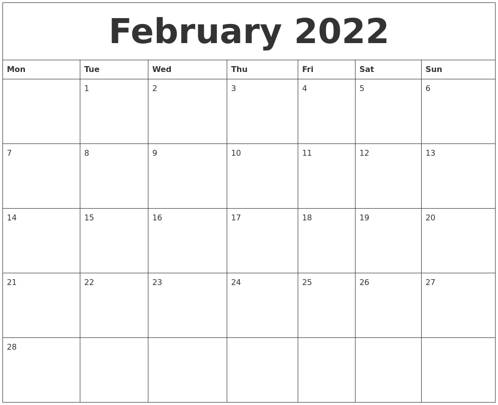 Time rules our lives, with appointments and deadlines guiding us through our days. February 2022 Calendar Monthly