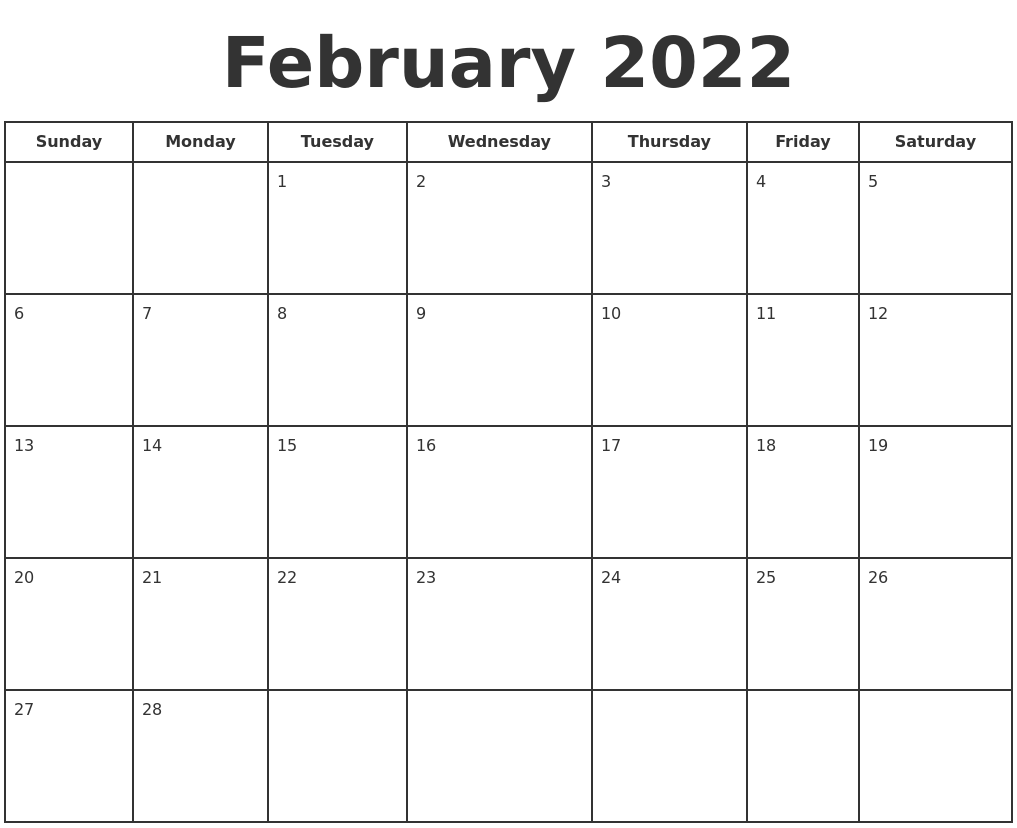 The 2022 word calendar is also available in pdf format and as an image or an. February 2022 Print A Calendar