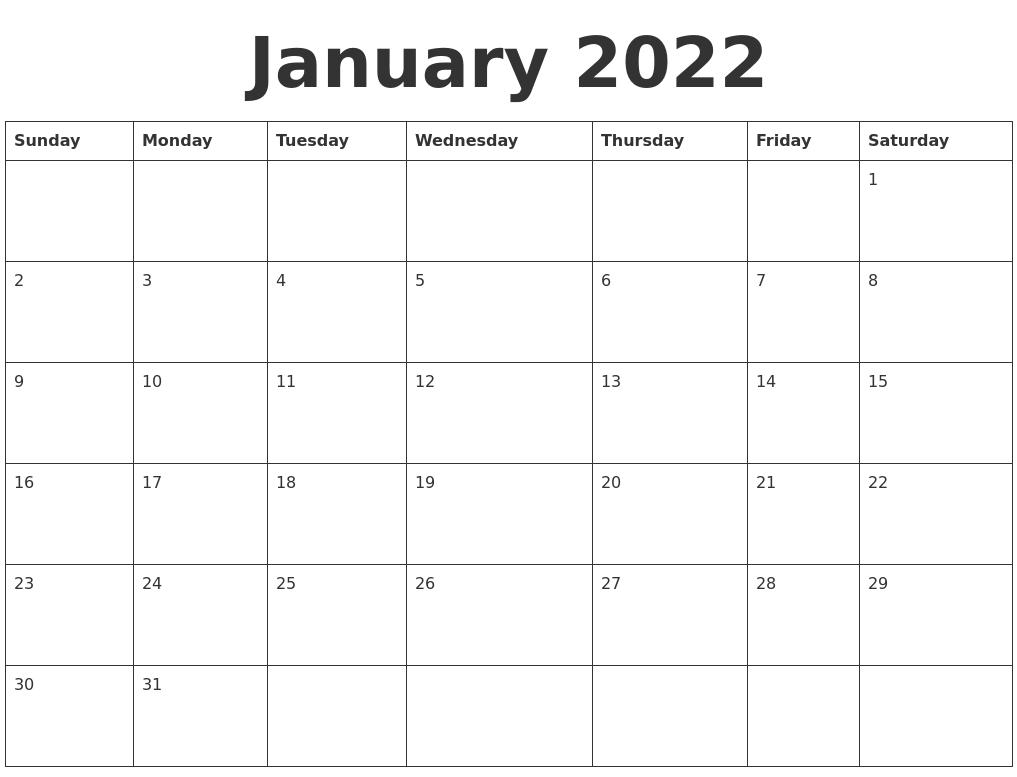 january is the month of the roman god of doors, janus. January 2022 Blank Calendar Template
