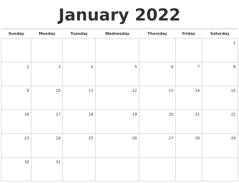 After the festive holiday season, the cold, bleak days of winter can see. January 2022 Blank Monthly Calendar