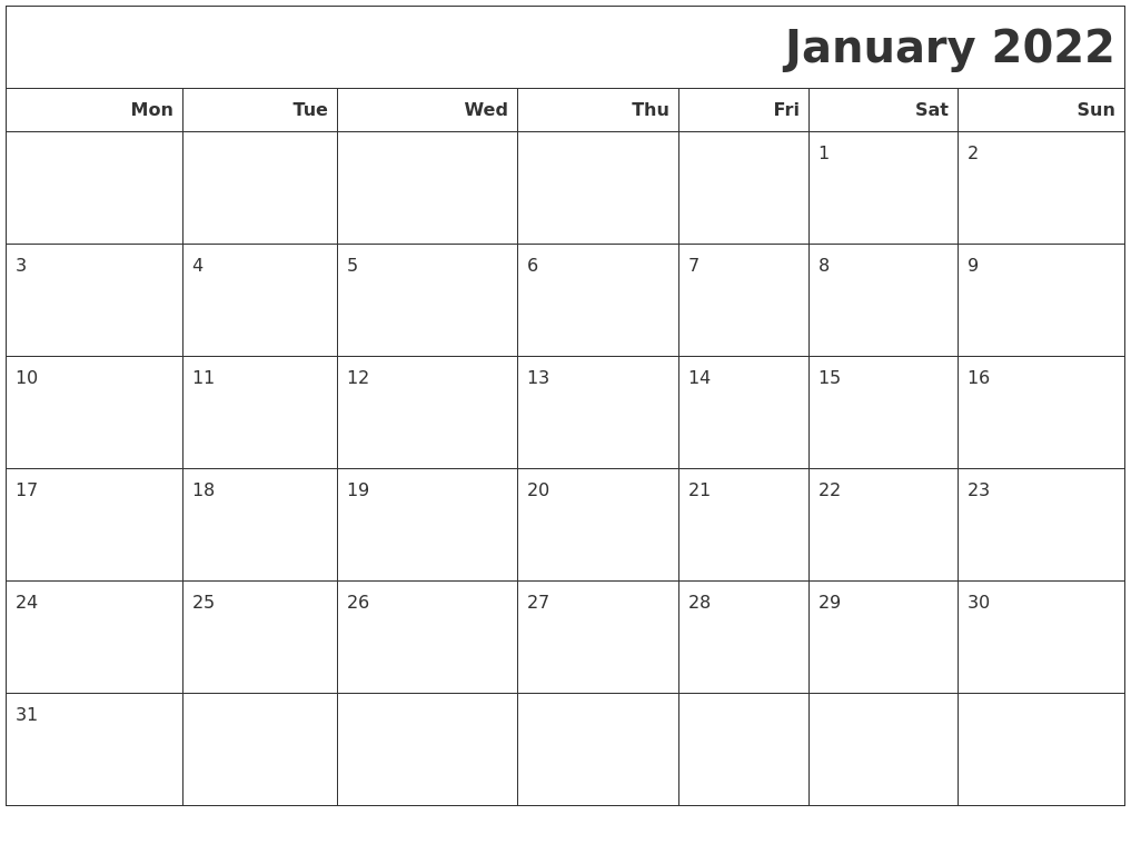 The printable january 2022 calendar download is easy to edit, and all the necessary information can be stored in this fantastic planning tool. January 2022 Calendars To Print