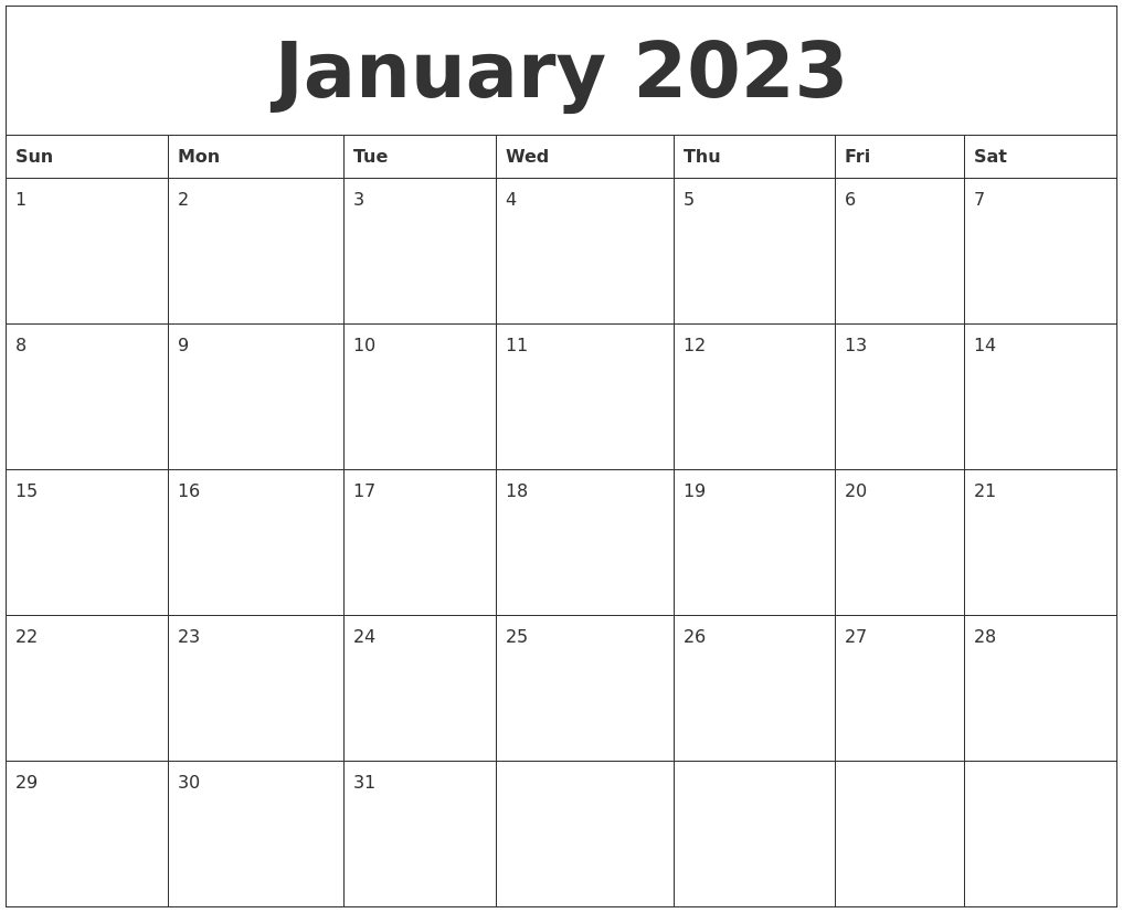 Image Result For Free Printable January Calendar
