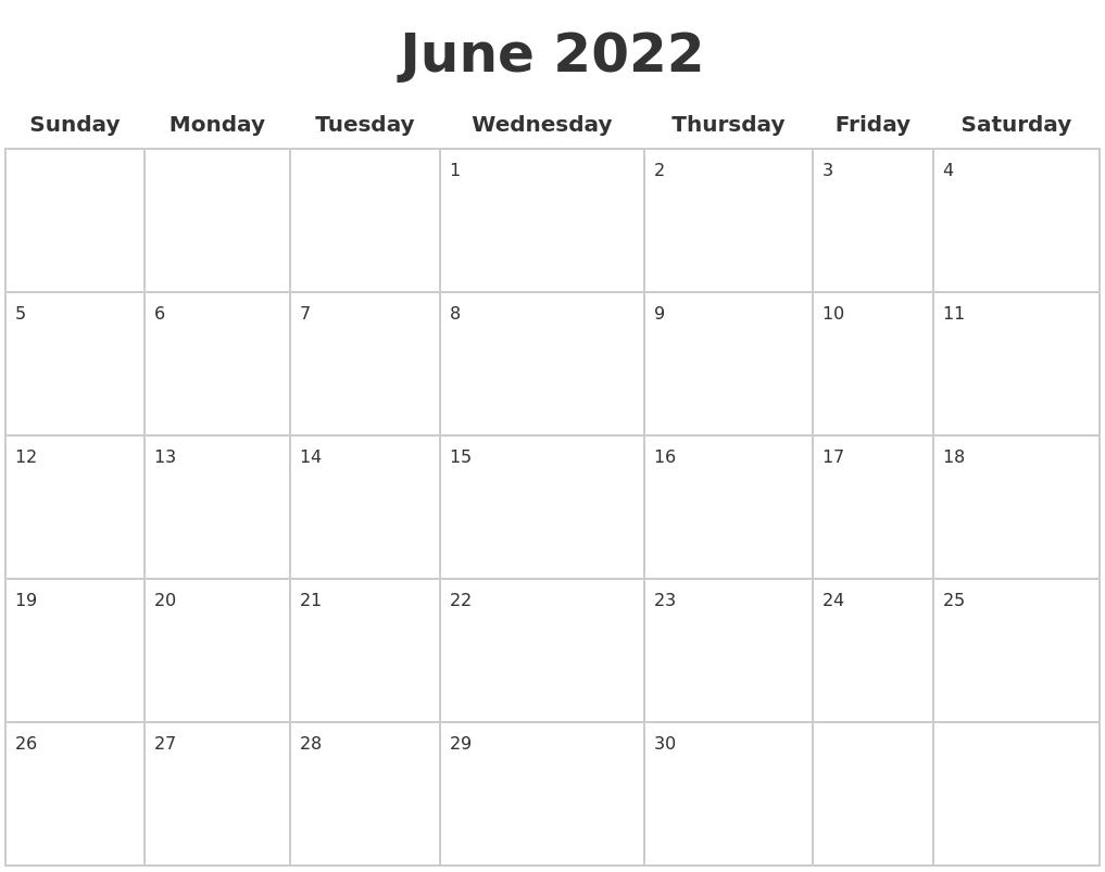Looking 2022 calendar printable pdf? June 2022 Blank Calendar Pages