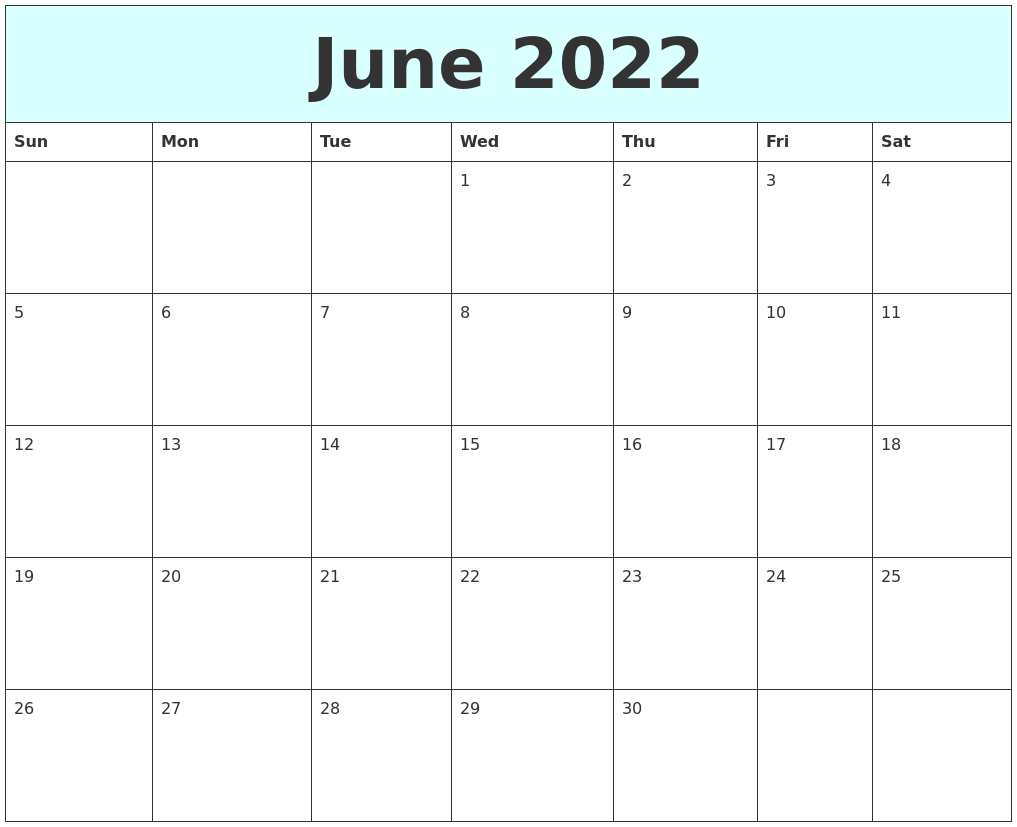If you are interested in our printable 2019 calendar, then please share it to your friends. June 2022 Free Calendar