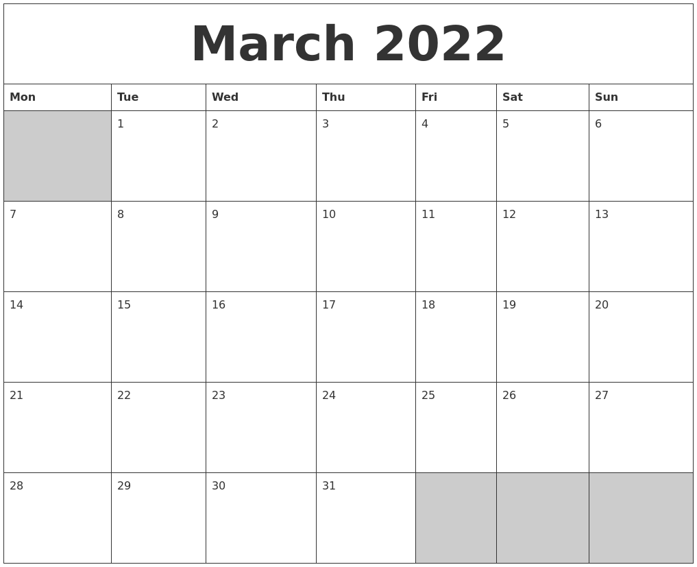 Prior month expectations as reported by reuters last week&aposs calendar this article was written by a staff member of thestreet.com. March 2022 Blank Printable Calendar