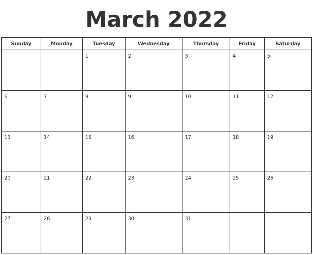 march 2022 printable calendar st. March 2022 Print A Calendar