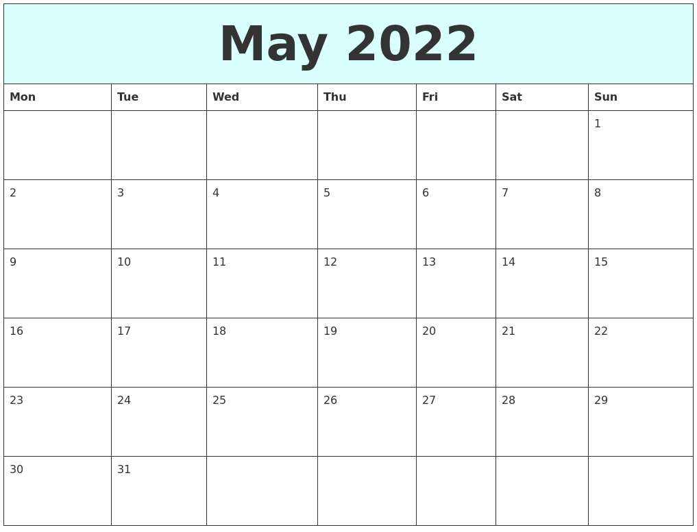 Remembering bill due dates is easy with a system for noting what needs to be paid and whether you've done with these free printable bill calendars. May 2022 Free Calendar