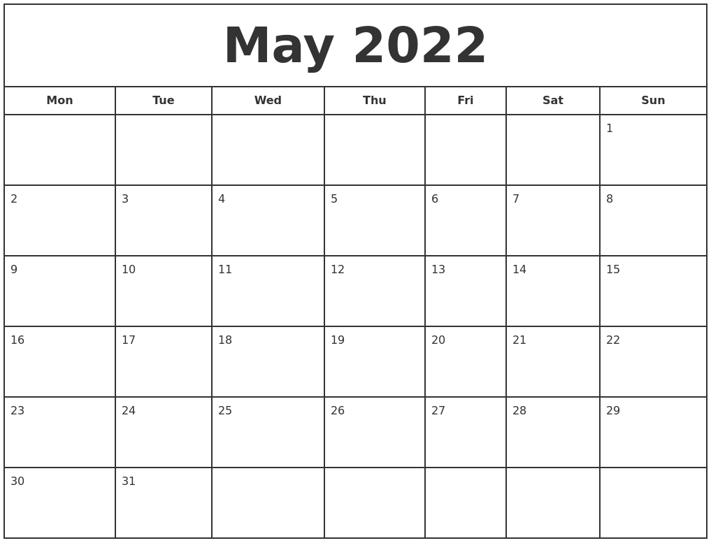 Select the orientation, year, paper size, the number of calendars per page, etc. May 2022 Print Free Calendar