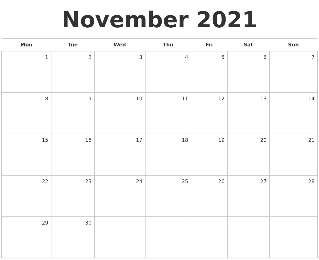 """The end of daylight savings time, so make sure you turn your clocks back an hour…in the fall season we """"fall back. November 2021 Blank Monthly Calendar"""