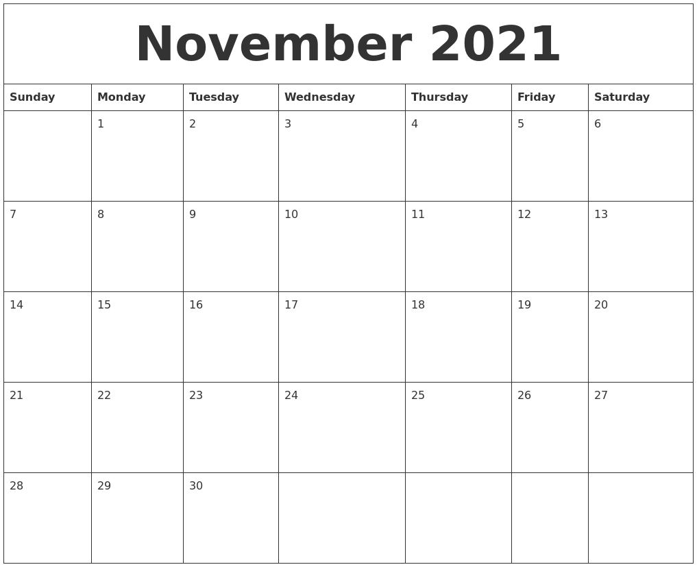 November 2021 calendar free printable november 2021 calendar.you can now get your printable calendars for 2021, 2022, 2023 as well as planners, schedules, reminders and more.simple, convenient, enjoy our printable calendars. November 2021 Free Blank Calendar