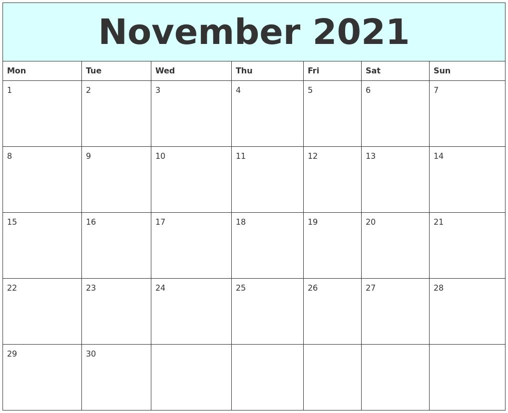 Calendar for november 2021 (united states) printing help page for better print results. November 2021 Free Calendar