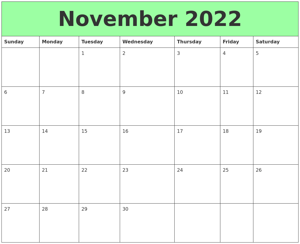 Miss one of these dates or deadlines in november, and it could cost you. November 2022 Printable Calendars