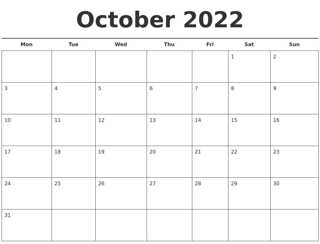 Time rules our lives, with appointments and deadlines guiding us through our days. October 2022 Free Calendar Template