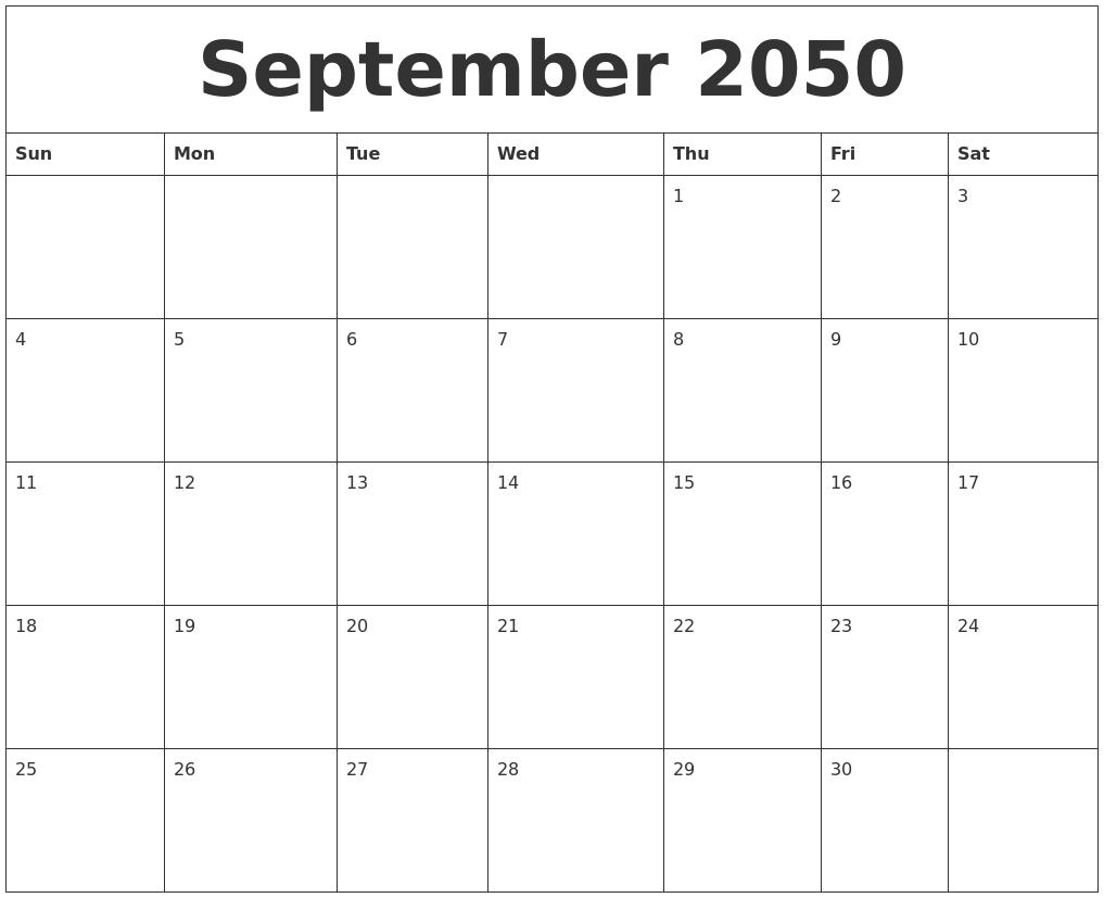 September 2050 Printable December Calendar