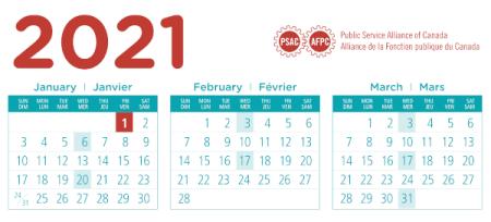 calendrier 2021 fonction publique canada